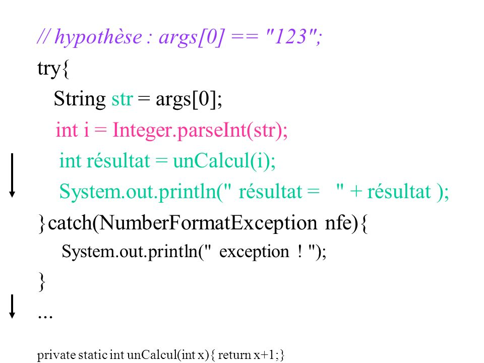 // hypothèse : args[0] == 123 ; try{ String str = args[0];